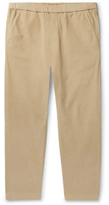 Barena Sarza Cropped Tapered Stretch-Cotton Corduroy Drawstring Trousers