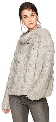 Moon River Women's Cable Turtleneck Chunky Sweater