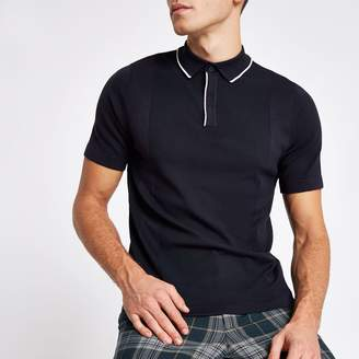 River Island Mens Navy tipped slim fit knitted polo shirt