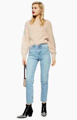 Topshop Womens Authentic Raw Hem Straight Leg Jeans - Blue