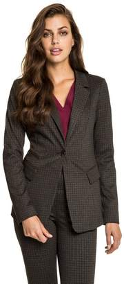 Le Château Women's Check Print Notch Collar Blazer,L