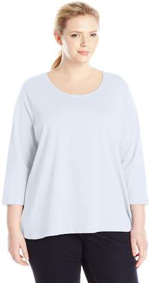 Fresh Women's Plus-Size Basic Long Sleeve Scoop Neck Top