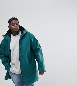 Asos PLUS Shower Resistant Rain Coat With Fleece Lined Hood In Bottle Green
