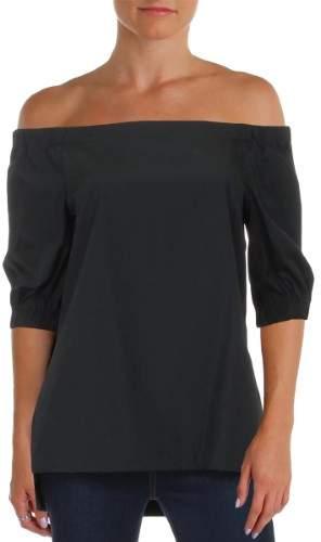 Lauren Ralph Lauren Womens Petites Poplin Off-The-Shoulder Pullover Top