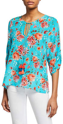Tolani Edith Floral-Print 3/4-Sleeve Tie-Front Silk Tunic