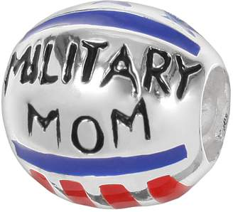 """Individuality Beads Sterling Silver """"Military Mom"""" Stars & Stripes Bead"""
