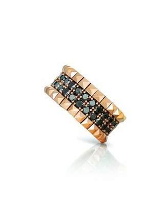 Roberto Coin 18k Rose Gold Black Diamond & Stud Ring