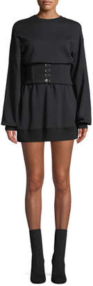 Jonathan Simkhai Crewneck Corset Sweatshirt Dress