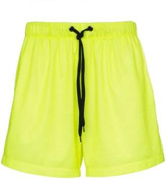 Duo logo stripe mesh cotton blend shorts
