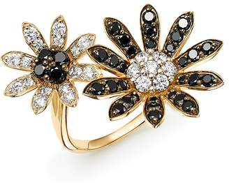 Bloomingdale's Black & White Diamond Flower Open Ring in 14K Yellow Gold - 100% Exclusive