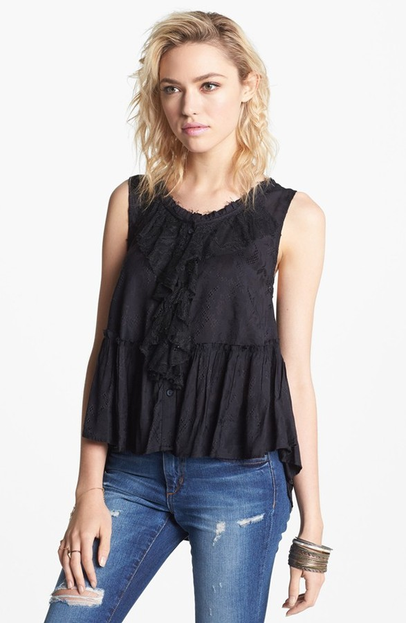 Free People 'Roman Holiday' Ruffle Trim Top