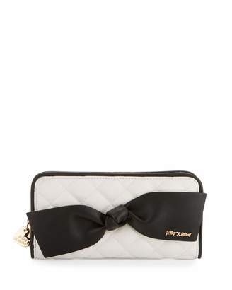Betsey Johnson Family Ties Zip Wallet, Black/White $55 thestylecure.com