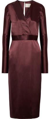 Dion Lee Wrap-effect Silk-satin Midi Dress - Burgundy