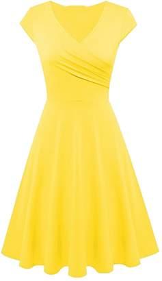 EFOFEI Women Knee Length Dress Short Sleeve Dress Warp V Neck Dress
