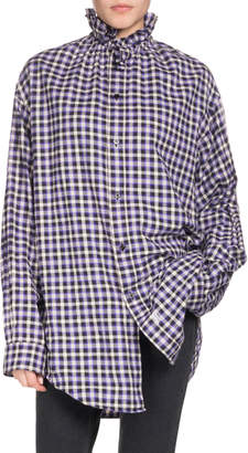 Balenciaga Ruffled-Collar Button-Front Long-Sleeve Gingham-Check Cotton Shirt