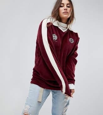 Puma Exclusive To ASOS Plus Velvet Soccer Jersey In Burgundy