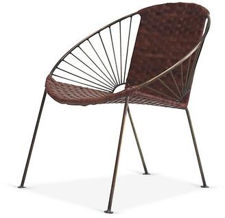 Mexa Ixtapa J Lounge Chair - Brass/Tobacco Leather