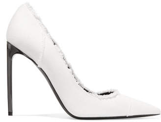 Frayed Twill Pumps - White