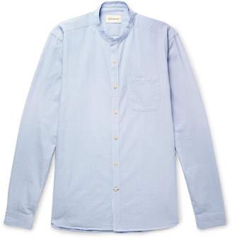 Oliver Spencer Grandad-Collar Pinstriped Cotton Shirt