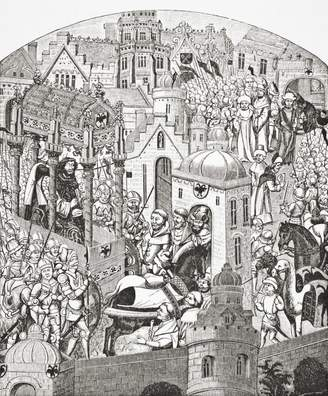 The Great Wall Art Import Coronation Of Charlemagne In The City Of Jerusalem. Charlemagne, Carolus Magnus Or Karolus Magnus,Charles The Great, 742 _ 814, King Of The Franks. From Science And Literature In The Middle Ages By Paul Lacroix Published London 1878 Poster Print (26 x 32)