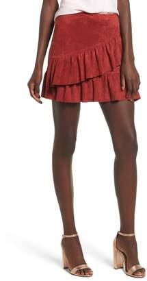 Soprano Faux Suede Ruffle Miniskirt