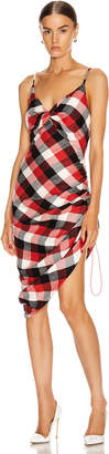 Monse Twisted Plaid Slip Dress in Black, Red & Ivory | FWRD