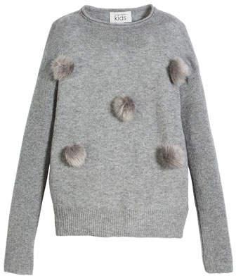 Autumn Cashmere Funnel-Neck Sweater w/ Pompoms, Size 6-16