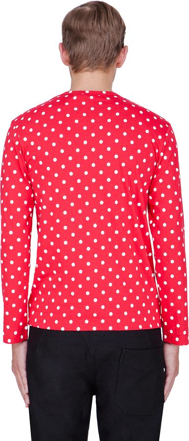 Comme des Garcons Red Polka Dot Print Jersey Shirt