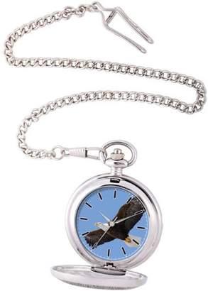 EWatchFactory Men's Eagle Pocket Watch, Silver