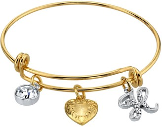 1928 Two Tone Crystal, Heart & Initial Charm Bangle Bracelet