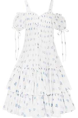 Alexander McQueen Cold-Shoulder Tiered Floral-Print Cotton-Voile Maxi Dress
