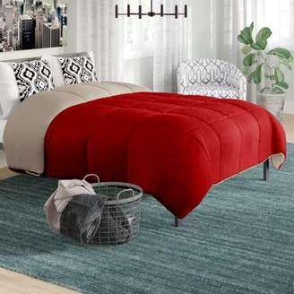 Peace Nest Red & Tan Contrast Down-Alternative Comforter, King Size