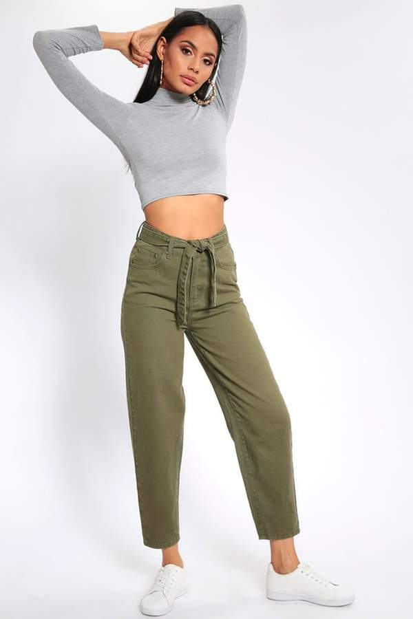 Isawitfirst Khaki Paperbag Waist Cropped Wide Leg Jeans