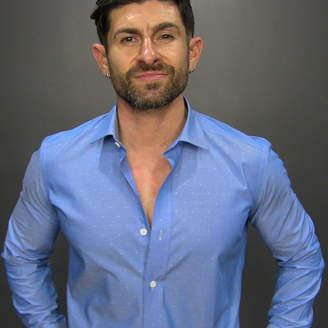 Alpha M - Blue pattern dress shirt