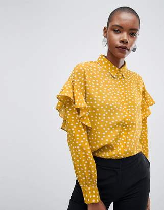 Selected Chanie Ruffle Arm Polka Dot Blouse