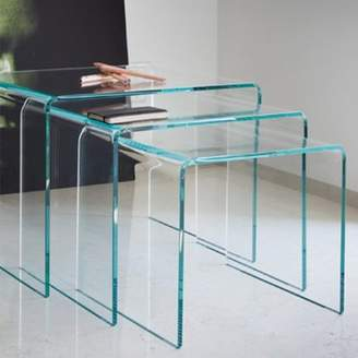 Glass nesting tables shopstyle at walmart clear fab glass and mirror bent glass nest tables 38 thick watchthetrailerfo