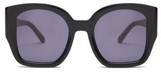 Karen Walker Checkmate Oversized Acetate Sunglasses - Womens - Black Grey