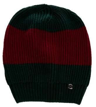 Gucci Wool Web Rib Knit Beanie w/ Tags
