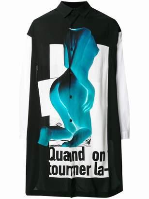 Yohji Yamamoto long printed shirt