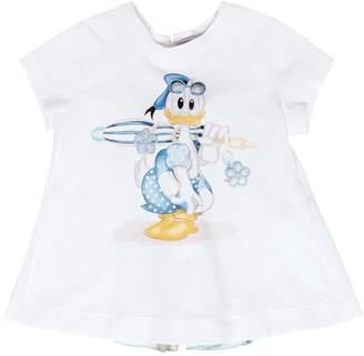 MonnaLisa Donald Duck Print Cotton Jersey T-Shirt