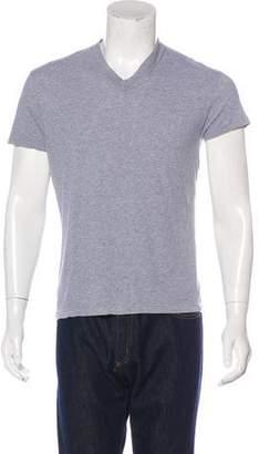 Prada Woven V-Neck T-Shirt