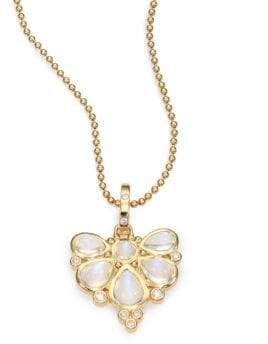 Temple St. Clair Royal Blue Moonstone, Diamond& 18K Yellow Gold Fan Pendant