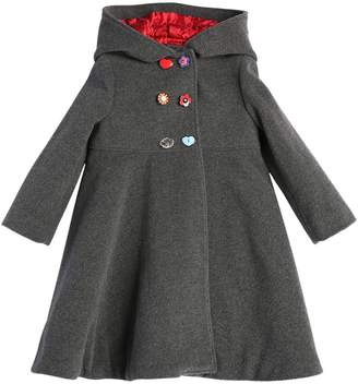 Dolce & Gabbana Hooded Mismatched Buttons Wool Felt Coat