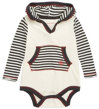 Burt's Bees Baby Candy Cane Stripe Hooded Bodysuit