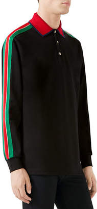 Gucci Men's Web-Striped Long-Sleeve Polo Shirt