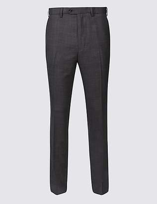 M&S Collection Slim Fit Wool Blend Flat Front Trousers