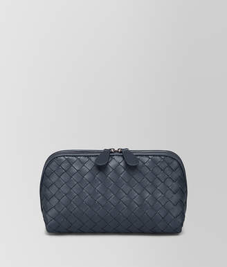 Bottega Veneta MEDIUM COSMETIC CASE IN DENIM INTRECCIATO NAPPA LEATHER