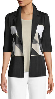 Misook Geometric Half-Sleeve Jacket