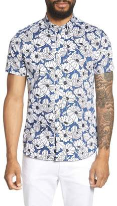Ted Baker Floral Print Oversize Fit Sport Shirt