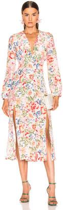 Rixo Camellia Dress in Diana Floral Peach | FWRD